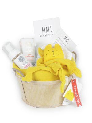 Cesta Bebé Bio Muselina y Doudou amarillo miell