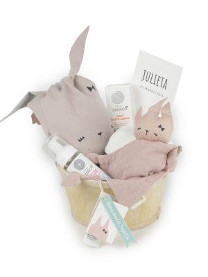 Cesta Bebé Bio Doudou y saco conejito rosa