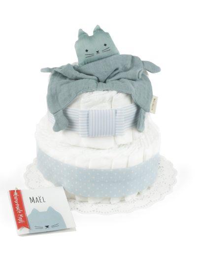 Tarta de pañales bautizo Azul Doudou