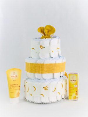 tarta de pañales ecológicos amarillo banana
