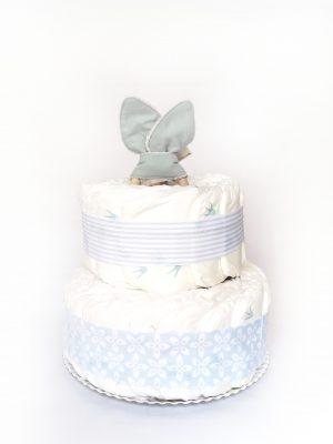 tarta de pañales celeste
