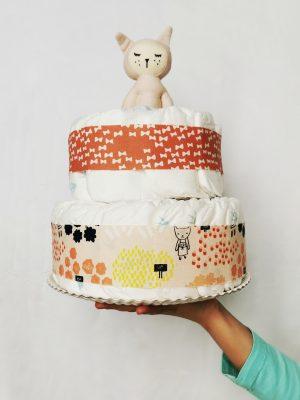 tarta de pañales ecológicos pink cat