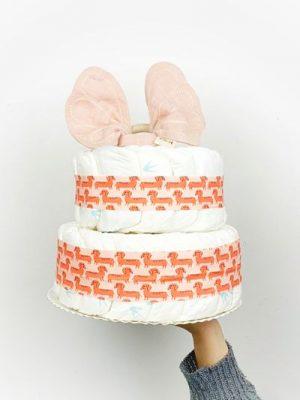 ampliar imagen de tarta de pañales pink dog