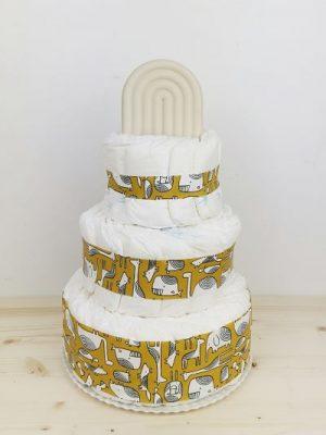 ampliar imagen de tarta de pañales animals mostaza