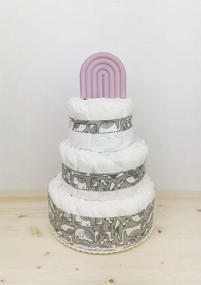 ampliar tarta de pañales animals gris